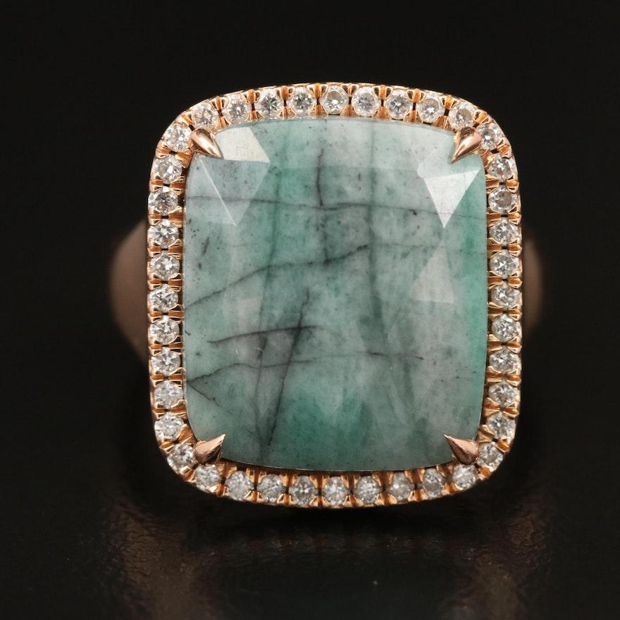 18K Beryl and Diamond Ring Featuring Euro Style Shank