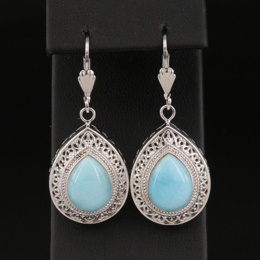 Sterling Silver Larimar Drop Earrings with Openwork Frame