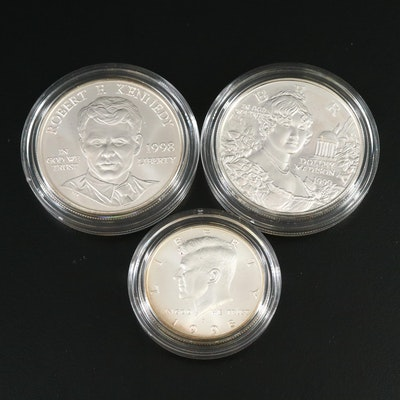 Tiffany & Co. Designed Dolly Madison and U.S. Mint Kennedy Proof Silver Dollars