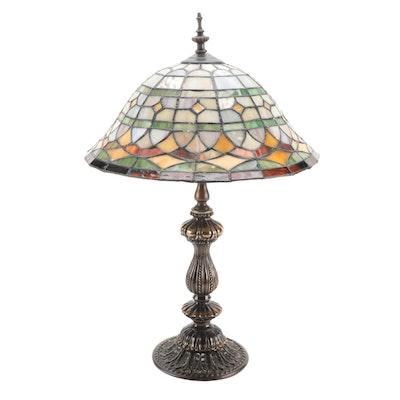Slag Glass Mosaic Shade Table Lamp