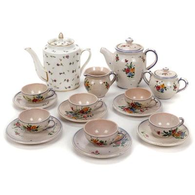 Italian Hand-Painted Coffee Set and English Porcelain Teapot