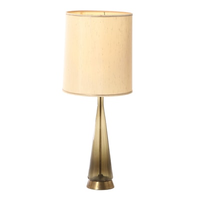 Mid Century Modern Smoke Glass and Brass Table Lamp with Drum Shade