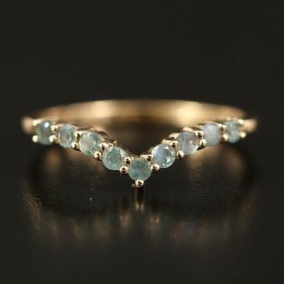 10K Alexandrite Chevron Ring