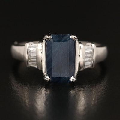 Platinum 1.93 CT Sapphire and Diamond Ring