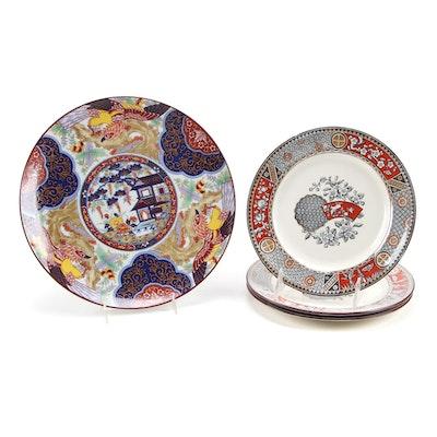"English Bates, Walker & Co. ""Satsuma"" Ironstone and Japanese Imari Plates"