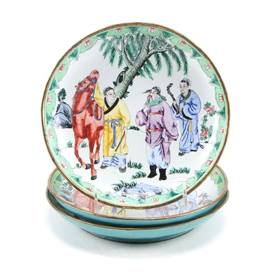 Chinese Canton Hand-Painted Enamel on Bronze Plate