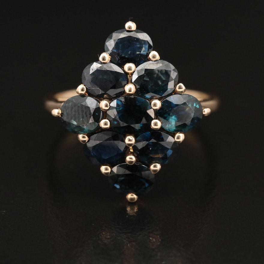9K Sapphire Cluster Ring