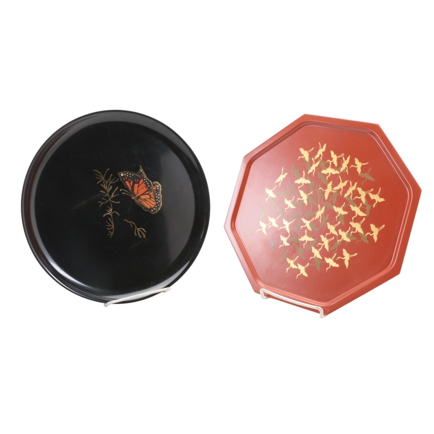 Couroc and Other Lacquerware Trays, Mid to Late 20th Century
