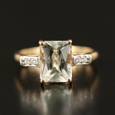 10K Spodumene and Sapphire Ring