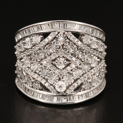 Sterling Silver Tapered Diamond Ring Featuring Illusion Settings