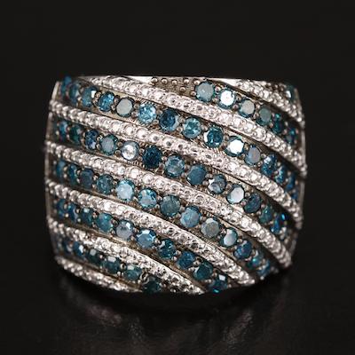 Sterling 1.45 CTW Blue Diamond Band
