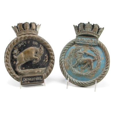 HMS Armada and HMS Sportive Bronze British Warship Badges