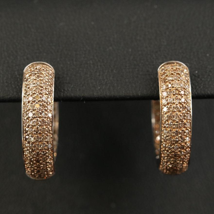 Sterling 1.47 CTW Brown Diamond Inside-Out Hoop Earrings