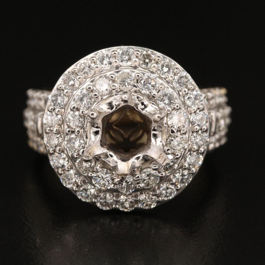 10K 2.40 CTW Diamond Double Halo Semi-Mount Ring