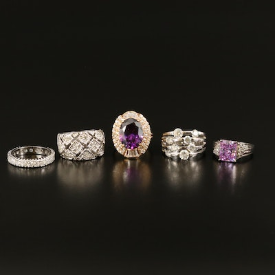 Rings Including Sterling, Rhinestone and Glass