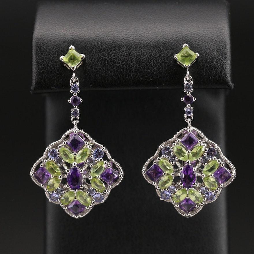 Sterling Amethyst and Gemstone Cluster Earrings