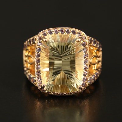 Sterling Citrine and Iolite Ring with Openwork Accents