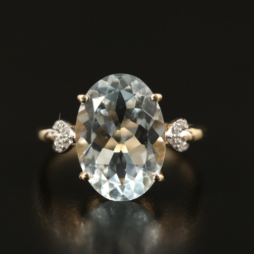 10K Aquamarine and Zircon Ring