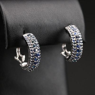 Sterling Sapphire Half Hoop Earrings