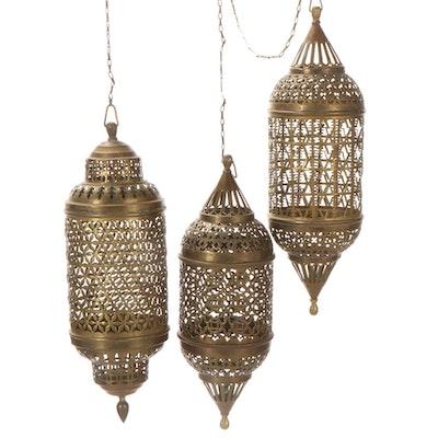 Moroccan Style Openwork Hanging Brass Lanterns