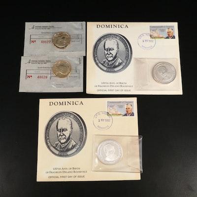 .999 Fine Silver FDR Centennial Medallions and JFK Gold Plated Half Dollars