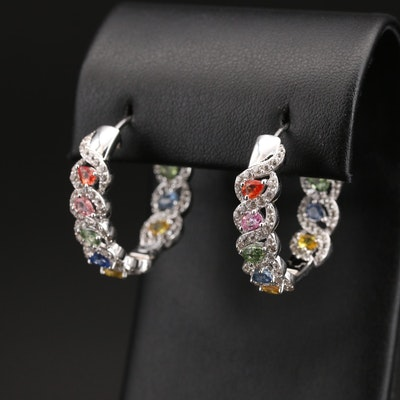Sterling Multicolor Sapphire and Zircon Inside-Out Hoop Earrings