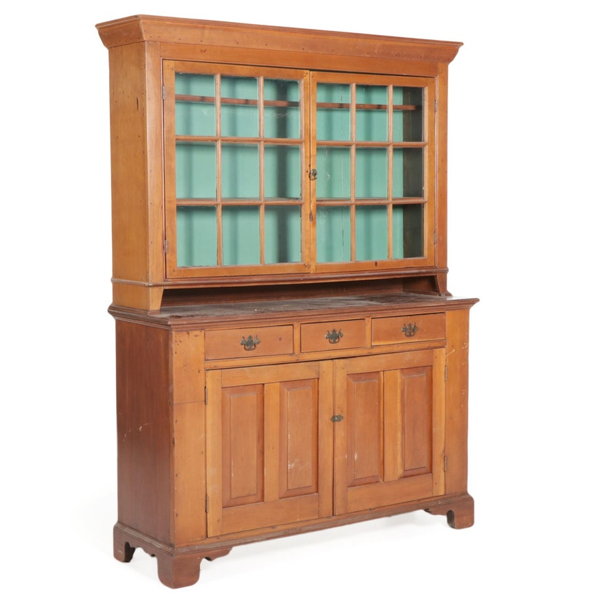 American Primitive Wood Step-Back China Cabinet, Mid-19th Century