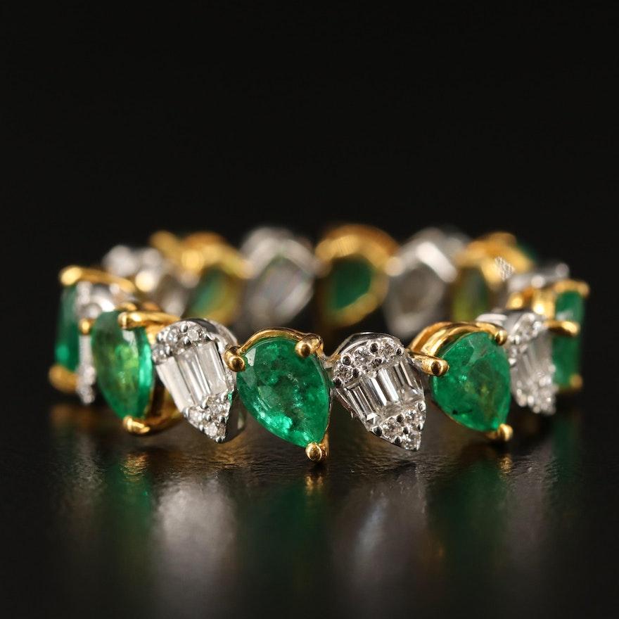 EFFY 18K Emerald and Diamond Eternity Band
