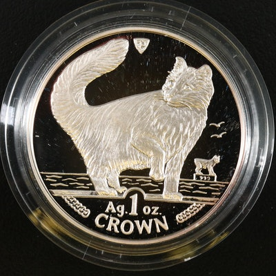 .999 1 Troy Ounce Silver Isle of Man Norwegian Forest Cat Proof Coin, 1991