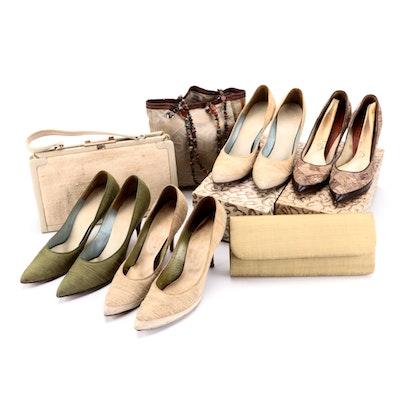 Custom Made Pointed Toe Heels with Matching Handbags