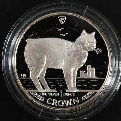 .999 1 Troy Ounce Silver Isle of Man Manx Cat Proof Coin, 1988