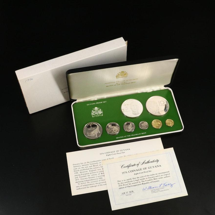 Franklin Mint Guyana Eight-Coin Proof Set, 1976