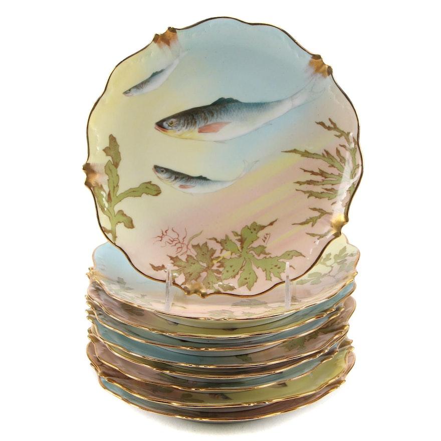 Elite Works Limoges Fish Motif Porcelain Plates, Early 20th Century