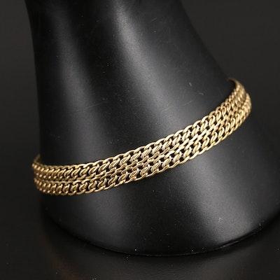Italian Milor 14K Double Row Curb Link Bracelet