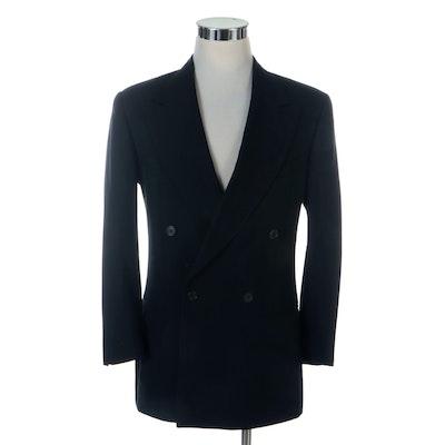 Giorgio Armani Le Collezioni Navy Pinstripe Double-Breasted Blazer