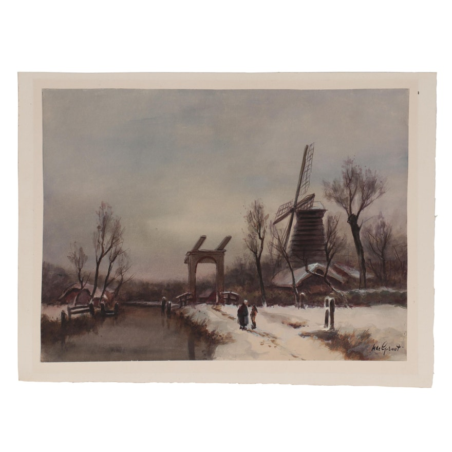 M. de Groot Watercolor Painting of Winter Genre Scene, Early 20th Century