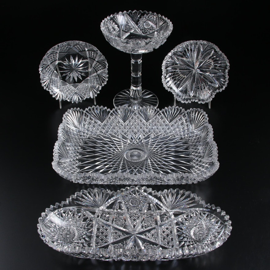 American Brilliant Style Cut Glass Serving Dishes and Tableware