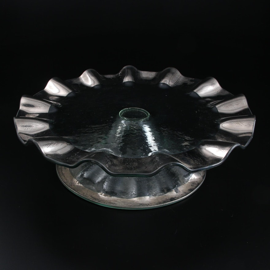 Annieglass Ruffle Platinum Petit Fours Stand