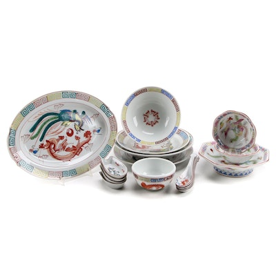 Chinese Dragon and Phoenix Porcelain Dinnerware and Serving Pieces