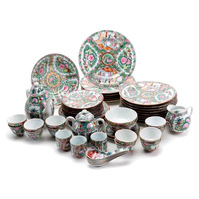 Chinese Rose Medallion Porcelain Plates and Other Tableware, Late 20th Century