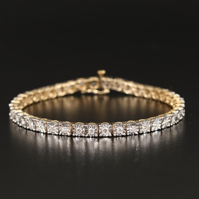 Sterling Silver 1.22 CTW Diamond Illusion Set Line Bracelet