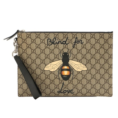 """Gucci """"Blind for Love"""" Bumblebee GG Supreme Canvas Wristlet with Leather Trim"""