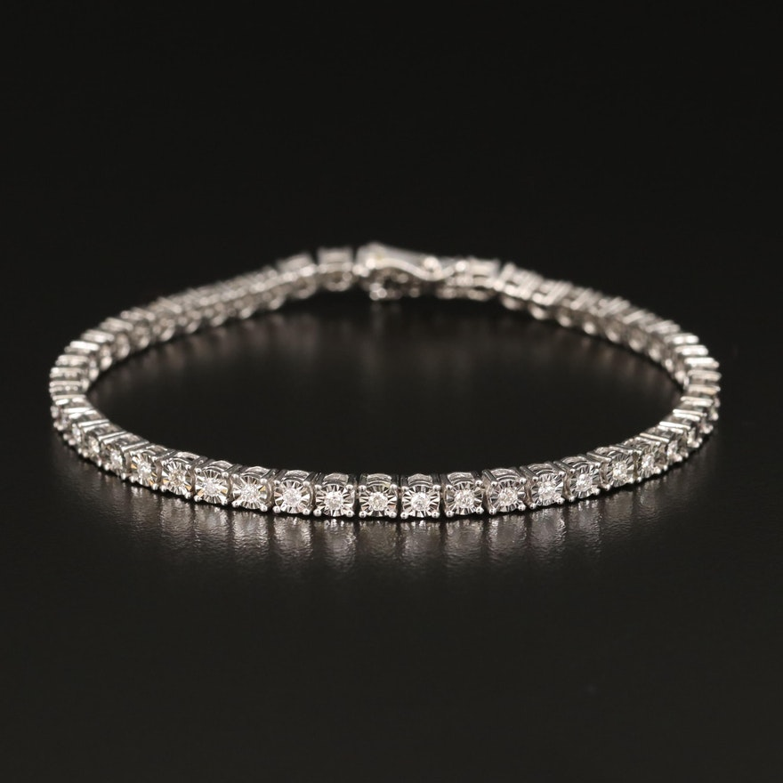 Sterling Silver Diamond Illusion Set Line Bracelet
