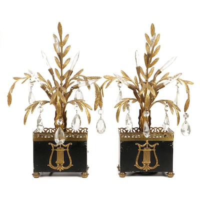 Brass Cast Palm Table Lamps with Illuminated Glass Accents