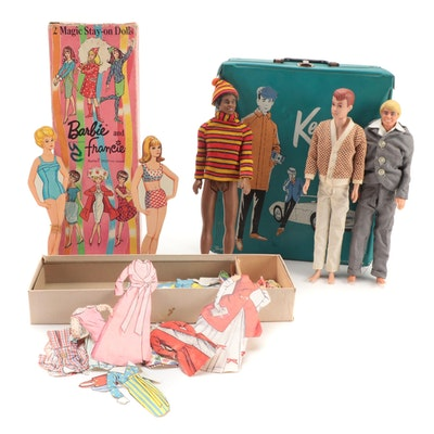 Ken Dolls by Mattel with Case, Accessories, and Barbie and Francie Stay-On Dolls