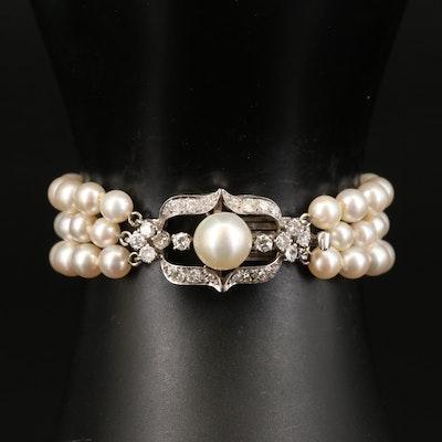 Vintage 14K Diamond and Pearl Triple Strand Bracelet