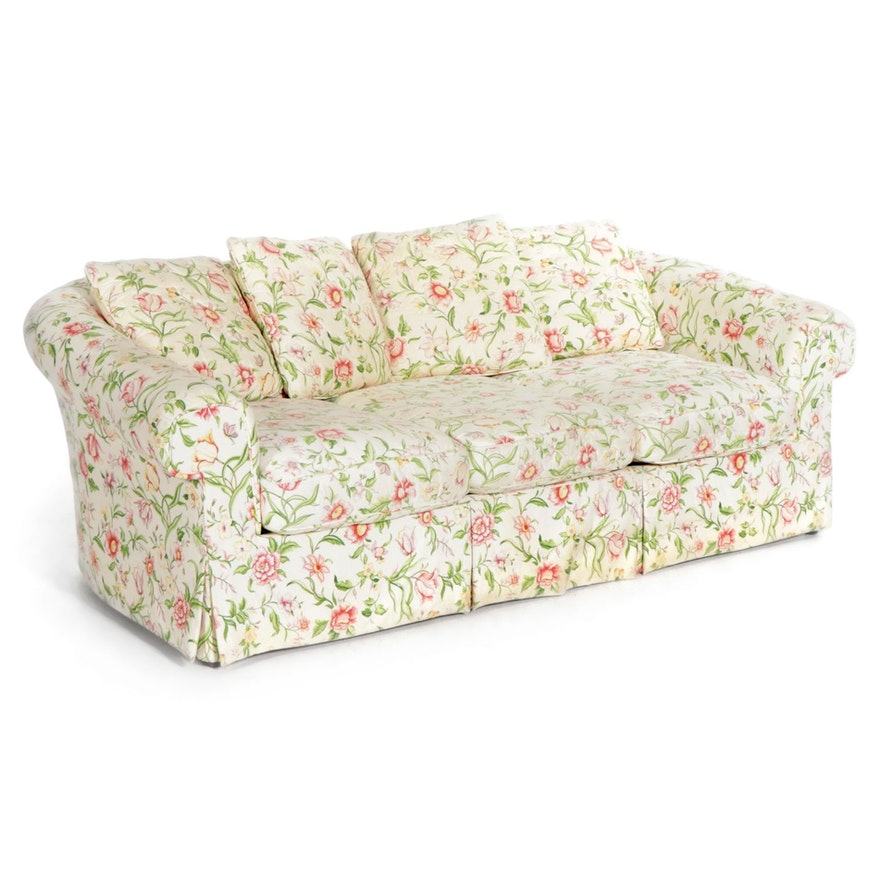 Floral Upholstered Rolled Arm Sofa, Late 20th Century