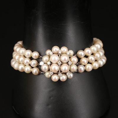 14K Pearl and Diamond Triple Strand Bracelet