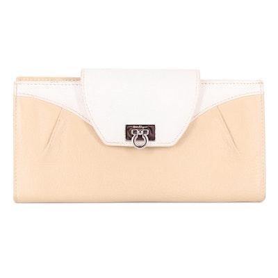 Salvatore Ferragamo Bicolor Leather Gancini Continental Wallet