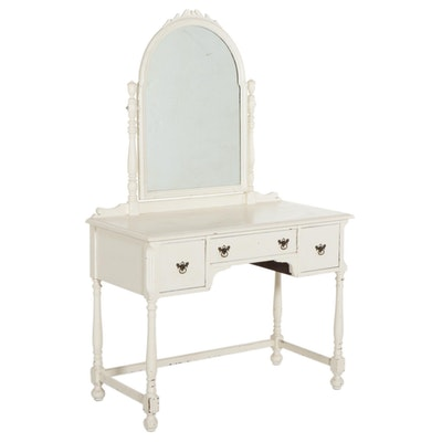 White Painted Wood Vanity Table with Mirror, Mid to Late 20th Century